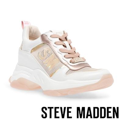 STEVE MADDEN-MOTORCITY 拼接厚底老爹鞋-香檳粉