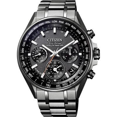 CITIZEN 星辰 光動能 鈦 GPS衛星對時手錶-灰/44mm CC4004-58E