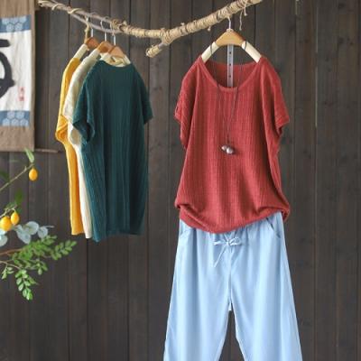 純色冰絲圓領針織T恤韓版百搭短袖上衣七色-設計所在