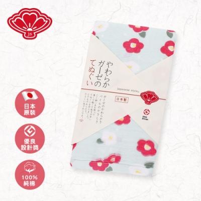 【日纖】日本製純棉長巾-雪冬寒椿 34x90cm