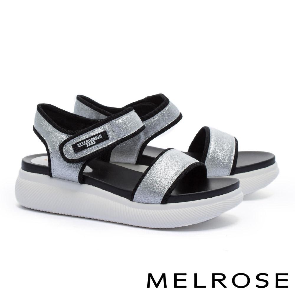 涼鞋 MELROSE 潮感帥氣金蔥寬版繫帶魔鬼氈厚底休閒涼鞋-銀