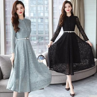 簡潔小立領白束腰修身蕾絲洋裝M-3XL共兩色-REKO