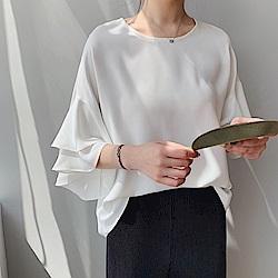 韓國空運 氣質荷葉袖雪紡上衣-3色-TMH