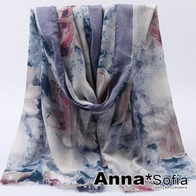 【滿688打75折】AnnaSofia 蔓蕾交織鏤網 柔軟大披肩圍巾(紫藍系)