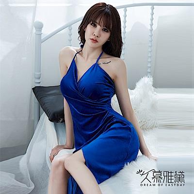 性感睡衣 金絲絨V領優雅高開叉長裙。寶藍 久慕雅黛