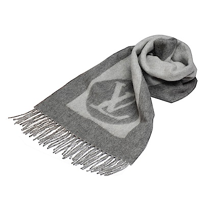 LV M70484經典CARDIFF系列LOGO印花雙色開士米羊毛混紡圍巾(灰)