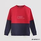 Hang Ten -女裝-潮流色塊拼接內裡刷毛長袖上衣-紅