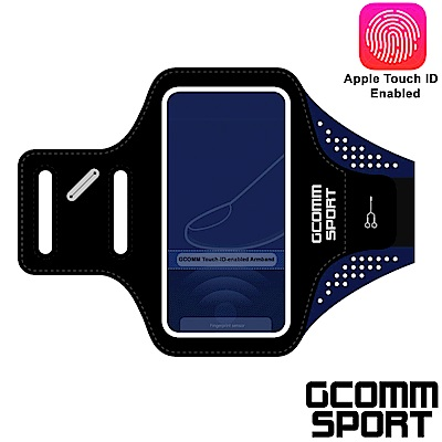 GCOMM SPORT 4.8吋 指紋辨識超輕薄雙層萊卡透氣親膚 運動臂帶 運動酷黑