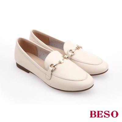 BESO時尚流行-國民小資女百搭樂福鞋(網路獨家款)-米色