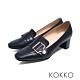 KOKKO秋日旋律珍珠扣方頭粗跟樂福鞋沉靜藍 product thumbnail 1