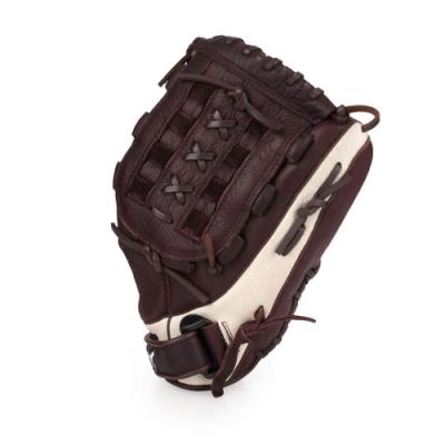 MIZUNO 棒壘手套通用右投 深咖啡白