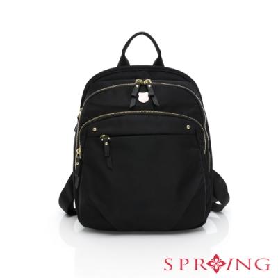 SPRING-未來質感系列尼龍防盜多收納後背包-多色