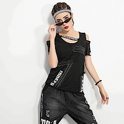 街頭風個性牛仔拼接T恤-M-XL-CLORI