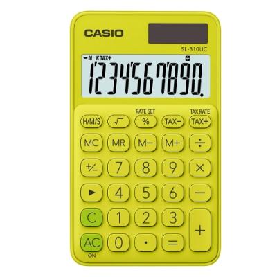 CASIO 10位元甜美馬卡龍輕巧口袋型計算機(SL-310UC-YG)-芥末黃
