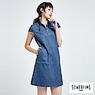 SOMETHING 休閒長版POLO衫-女-中古藍