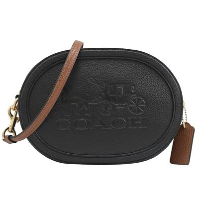 COACH 烙印大馬車LOGO圓弧造型拉鍊斜背包(黑)