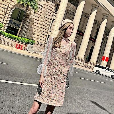 DABI 韓系名媛小香風蕾絲衫格子背心套裝長袖裙裝