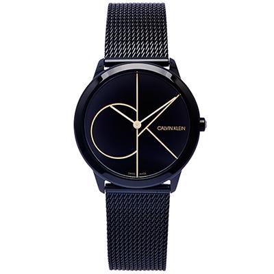 CK 極簡LOGO風格米蘭帶手錶(K3M224X1)-黑面x黑色/35mm