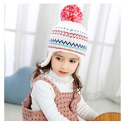 (kidwowo)歐美雙花緹花秋冬保暖童帽