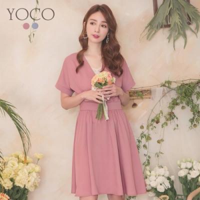 東京著衣-YOCO 氣質女伶V領交錯腰間抓皺傘狀洋裝-S.M.L(共兩色)