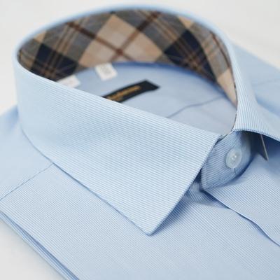 【金‧安德森】經典格紋繞領藍細紋短袖襯衫