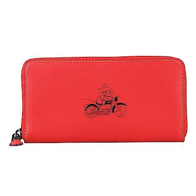 COACH x Disney 聯名款 經典米奇圖騰壓紋牛皮拉鍊長夾(紅)