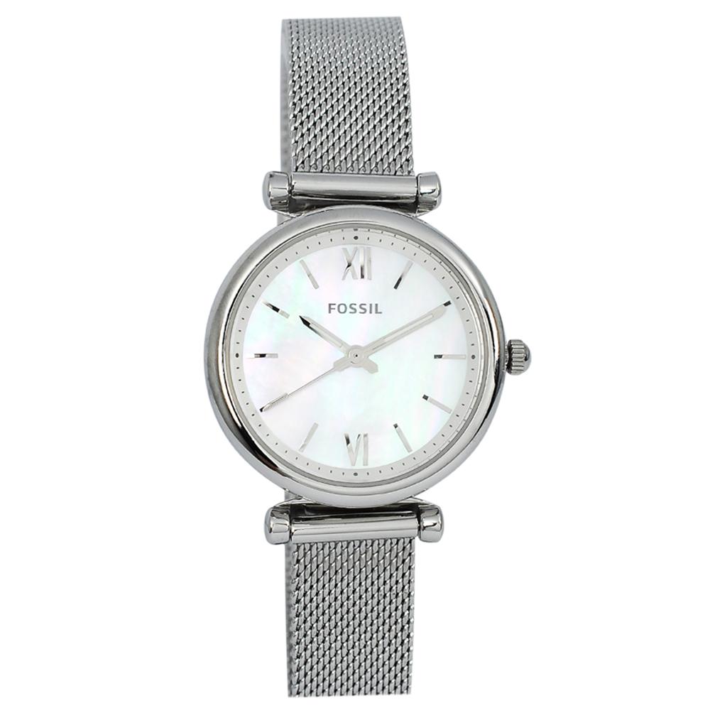 FOSSIL 美國精品手錶 CARLIE MINI珍珠貝母錶盤銀色米蘭錶帶28mm