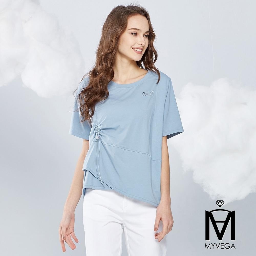 MYVEGA麥雪爾 MA純棉拼接抽繩五分袖上衣-藍