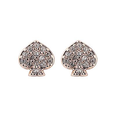 kate spade經典黑桃設計鑽鑲飾穿式耳環(玫瑰金)