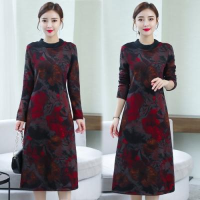 【韓國K.W.】(預購)印花氣質中國風長袖長洋裝-2色