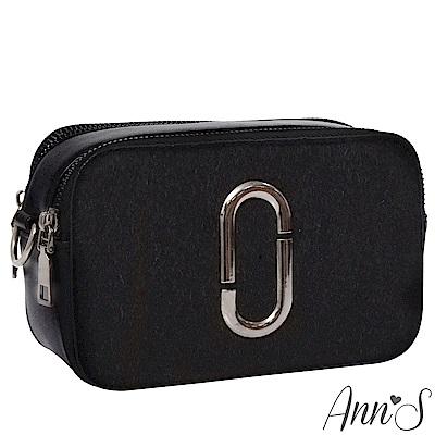 Ann'S引人注目-造型銀色圓環寬版背帶相機包-黑