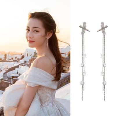 梨花HaNA 韓國925銀迪麗熱巴廣告同款公主X水晶長耳環