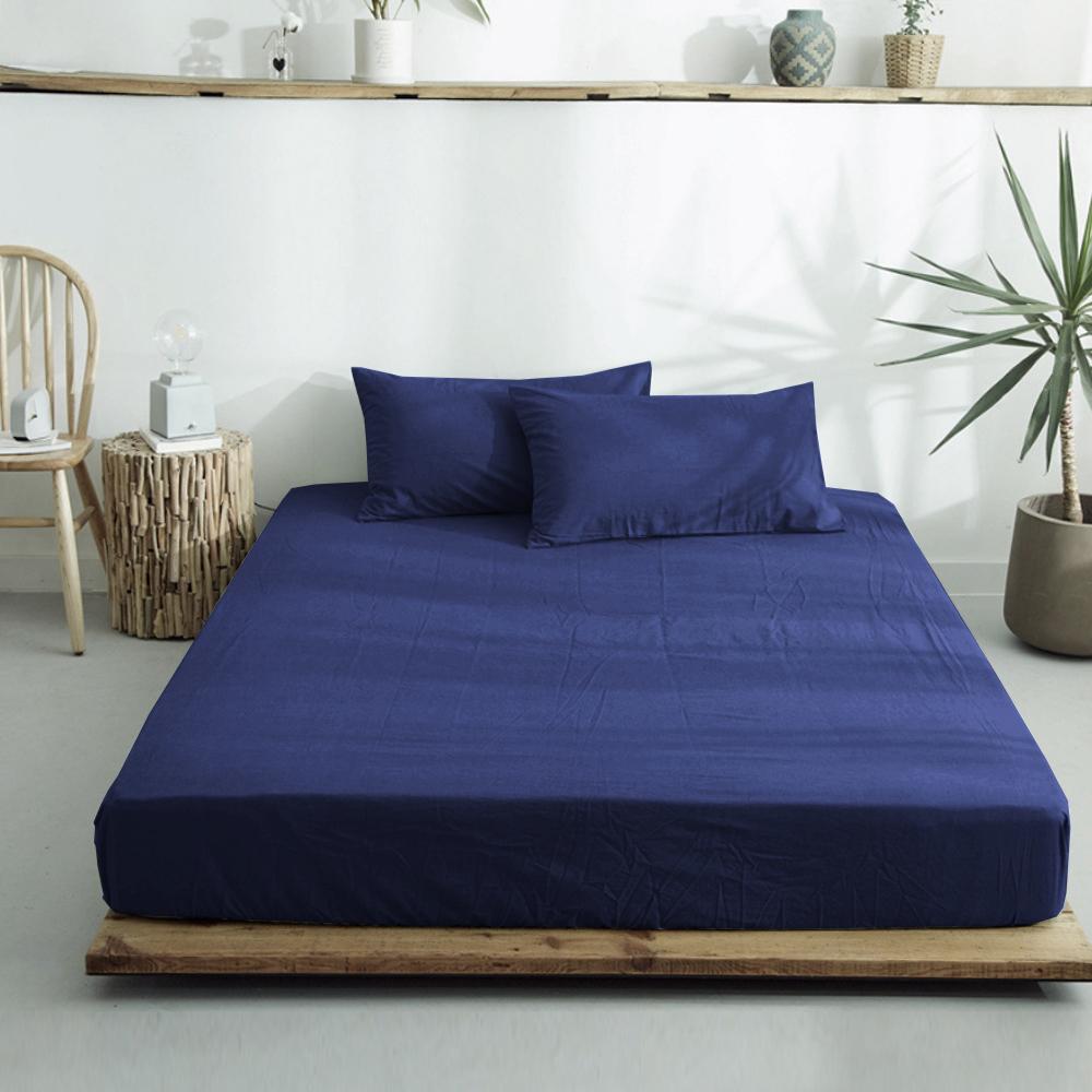 澳洲Simple Living 雙人300織台灣製純棉床包枕套組(藏青藍)