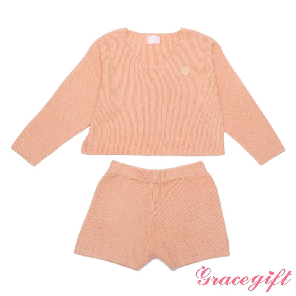 Grace gift-美戰圖案針織套裝 粉橘