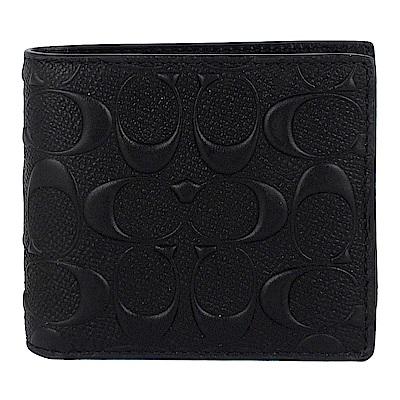 COACH 黑色LOGO皮革壓紋短夾(子母夾)