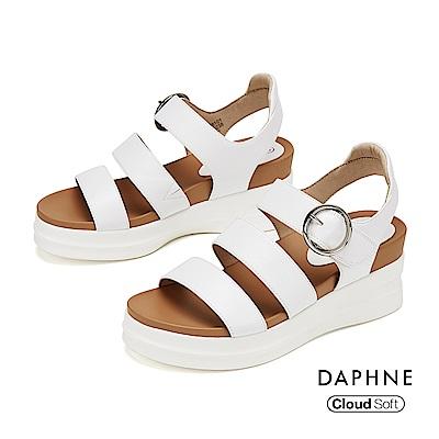 達芙妮DAPHNE 涼鞋-簡約羅馬撞色厚底楔型涼鞋-白色