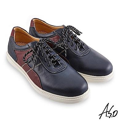 A.S.O機能休閒 輕量抗震拼色綁帶休閒鞋-深藍