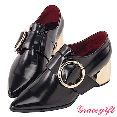 Grace gift X Marjorie-摩登金屬大圓環紳士粗跟 黑金