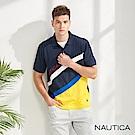 Nautica 航海家斜紋拼接吸濕快乾短袖POLO衫-藍色