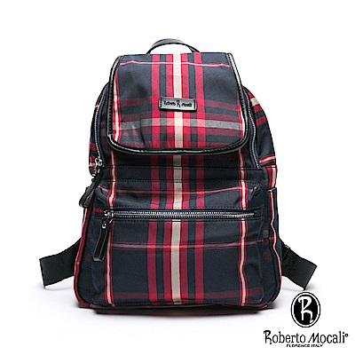 Roberto Mocali - 諾貝兔蘇格蘭時尚風潮配真皮掀蓋開口後背包