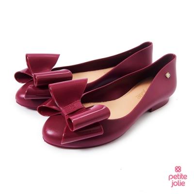 Petite Jolie-雙層蝴蝶結娃娃鞋-酒紅