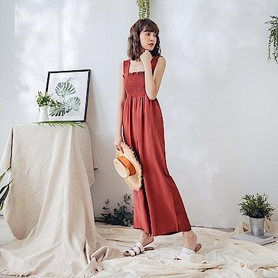 純色平領鬆緊造型連身吊帶寬褲-3色-OB嚴選