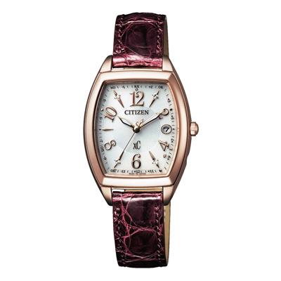 CITIZEN xC 憶戀梵蒂岡電波時計腕錶-酒紅(ES9394-56A)-25X23mm