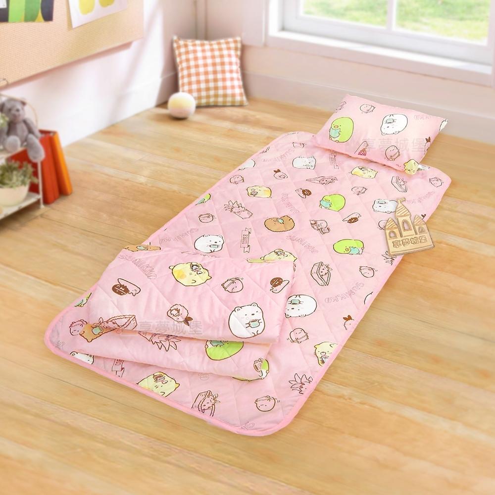 享夢城堡 兒童卡通涼被童枕睡墊三件組-角落小夥伴 咖啡杯-粉.黃 product image 1