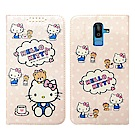 Hello Kitty貓 Samsung Galaxy J8 粉嫩系列彩繪磁力皮套(小熊)