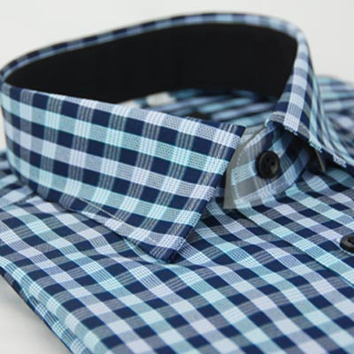 金‧安德森 藍白格紋窄版長袖襯衫fast