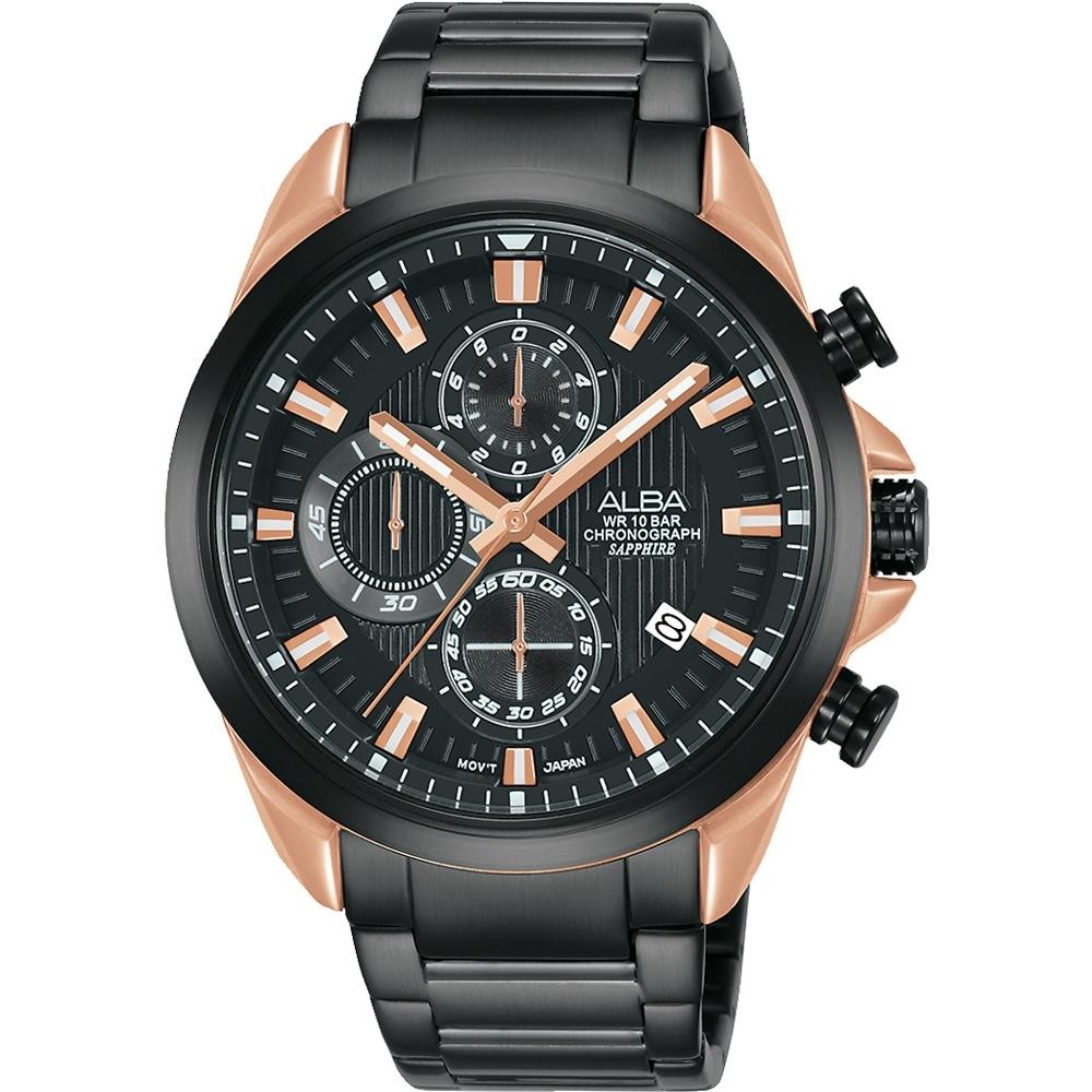 ALBA 雅柏 酷炫三眼 計時多功能腕錶 VD57-X187K AM3818X1