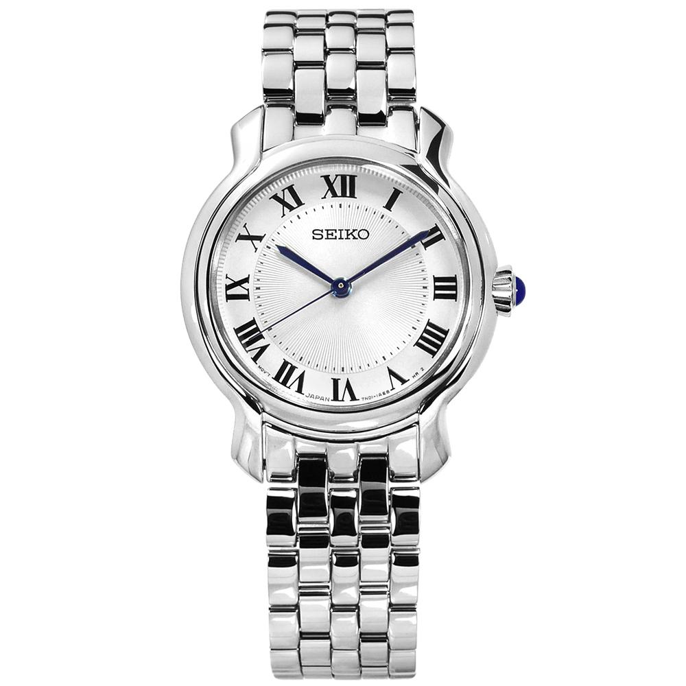 SEIKO 精工 歐式羅馬刻度礦石強化玻璃日本機芯不鏽鋼手錶-銀/29mm
