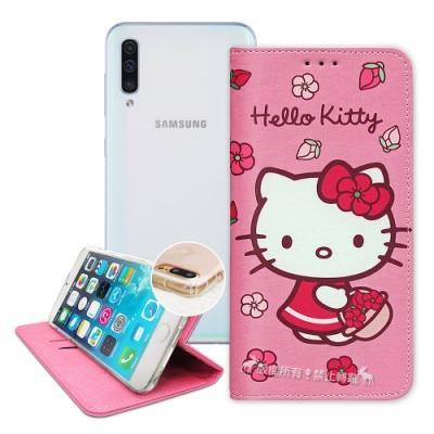 三麗鷗授權 Hello Kitty 三星 Galaxy A50 櫻花吊繩款彩繪側掀皮套