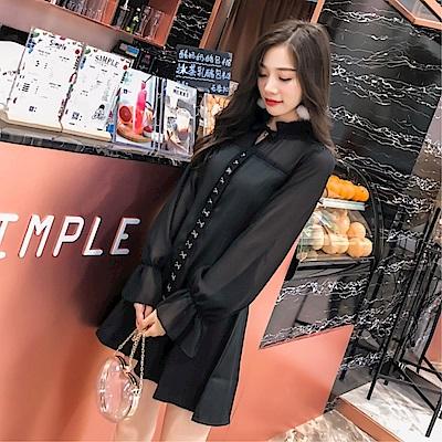DABI 韓國風名媛復古荷葉袖雪紡名媛長袖洋裝